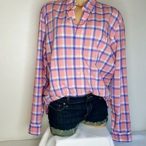 J. Crew pink & blue check button down shirt L
